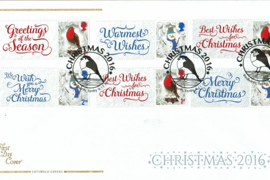 Christmas 2016 Cotswold Generic Sheet FDC