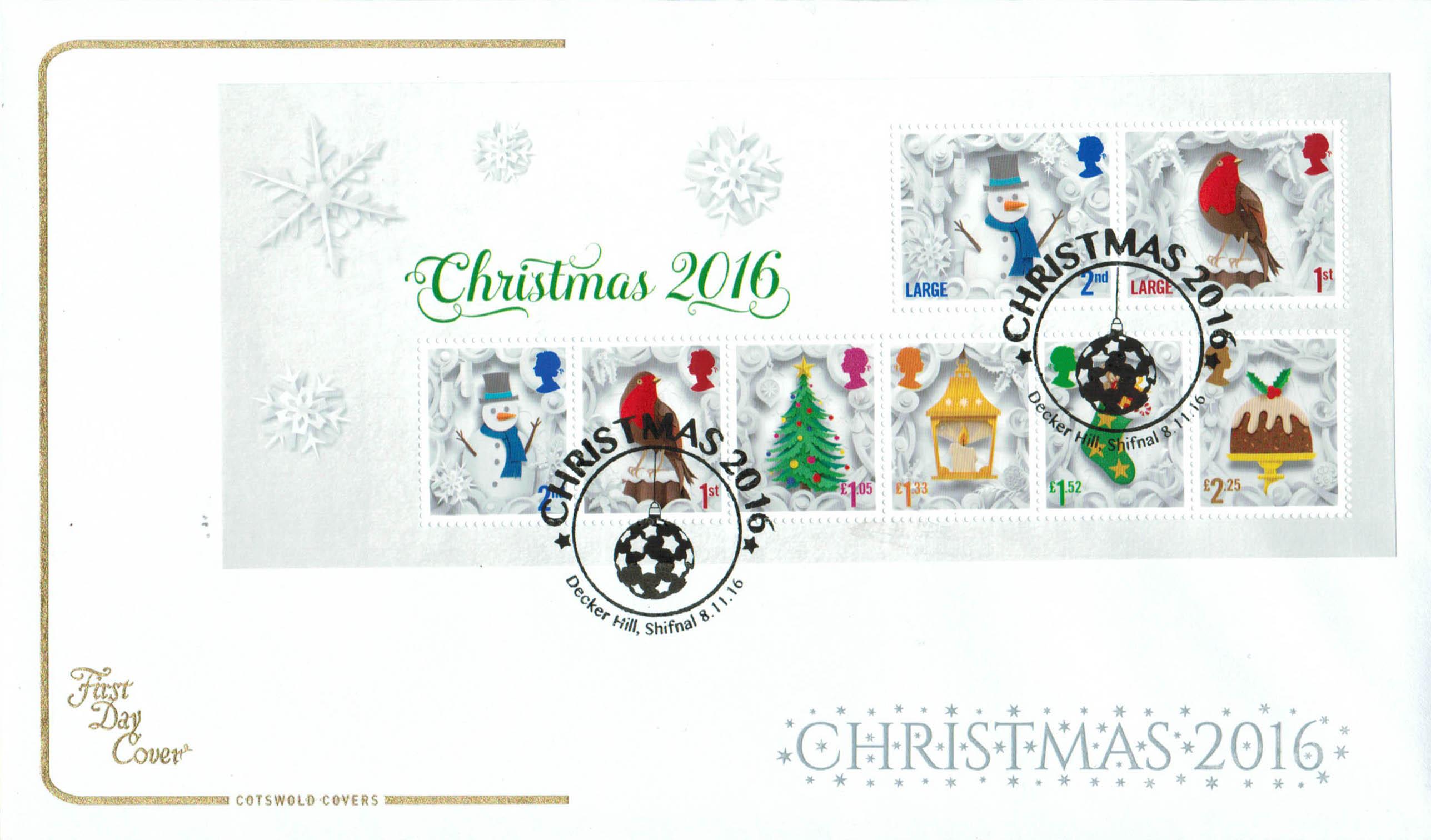 Christmas 2016 Cotswold Mini Sheet FDC