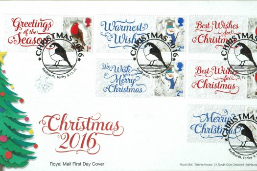 Christmas 2016 Royal Mail Generic Sheet FDC