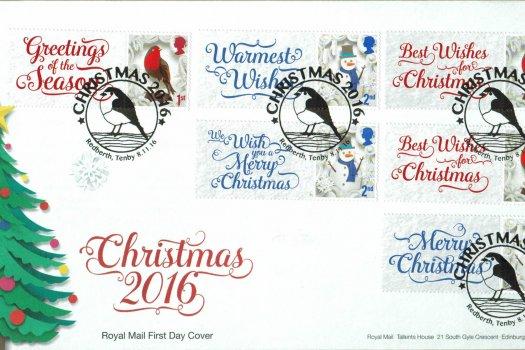 Christmas 2016 Royal Mail Generic Sheet FDC