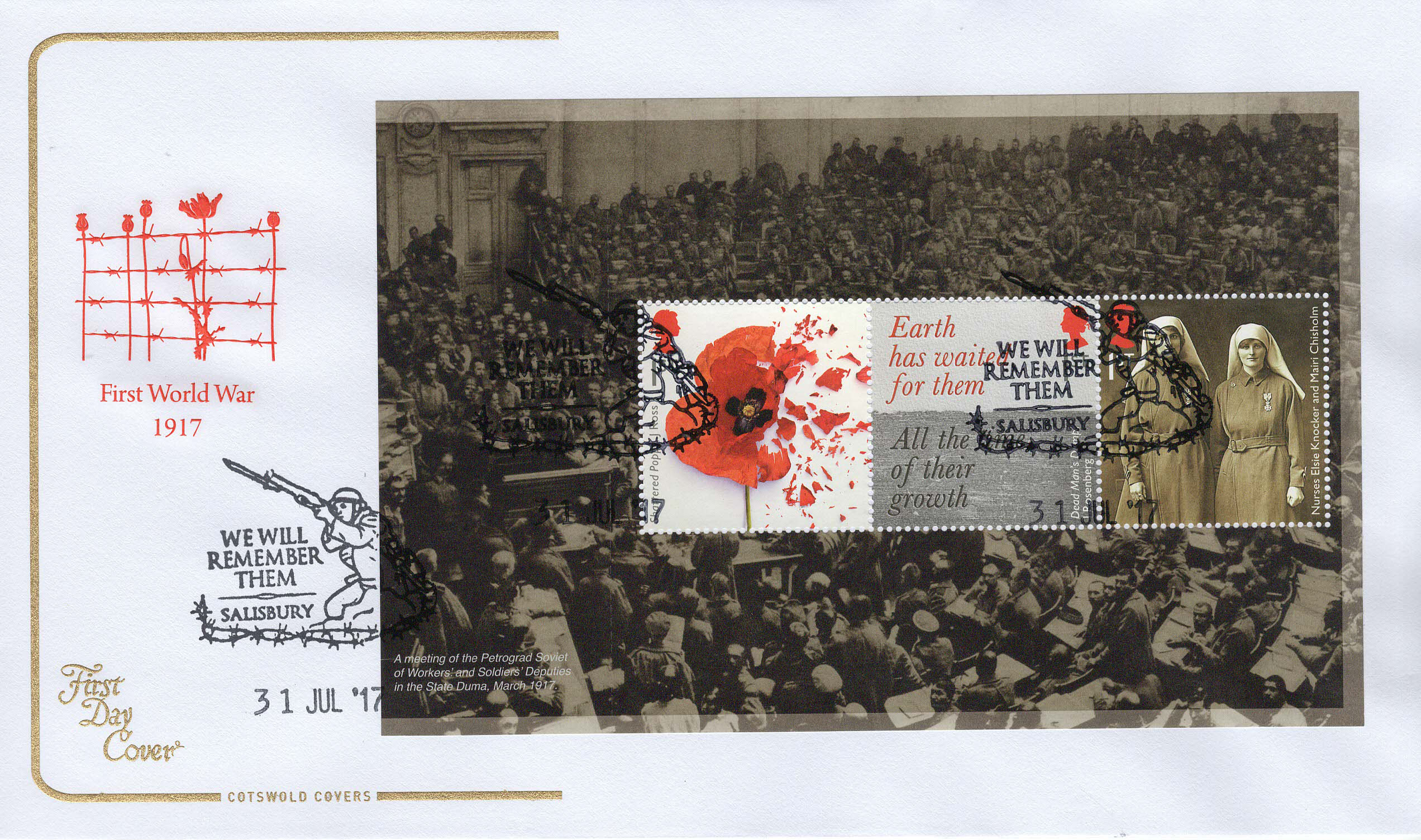 Cots-1st-WW-1917-Panes-2-4-from-PSB-FDC-July-2017