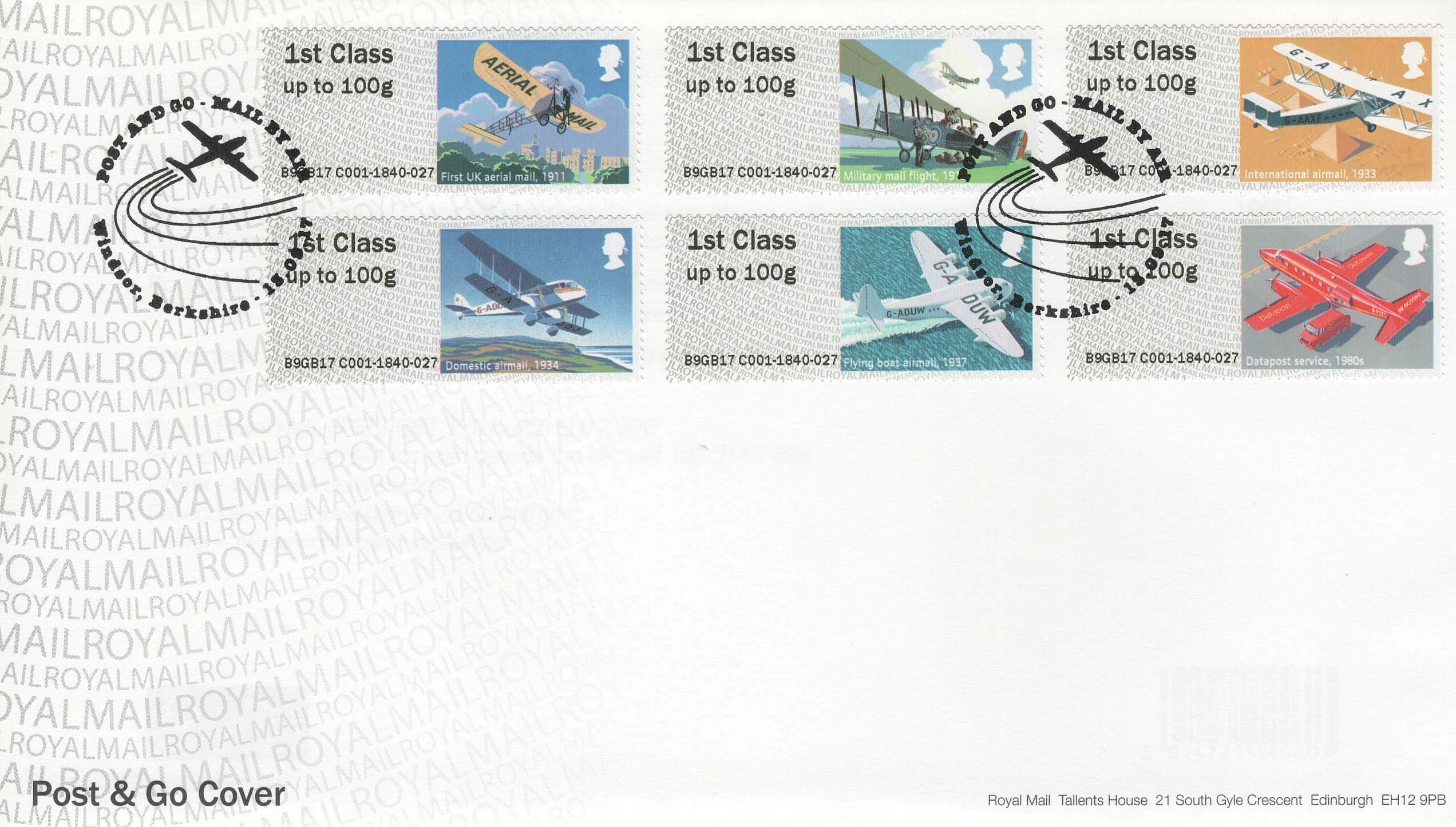 Post Go Royal Mail Mail By Air Fdc First Day Covers
