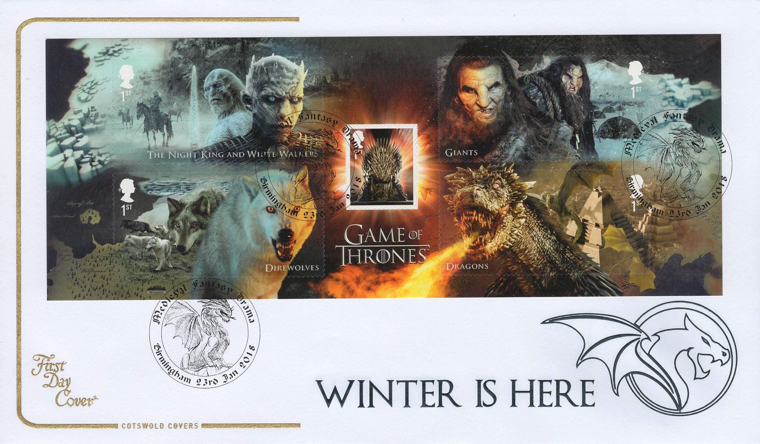 Cotswold Game of Thrones Minisheet FDC