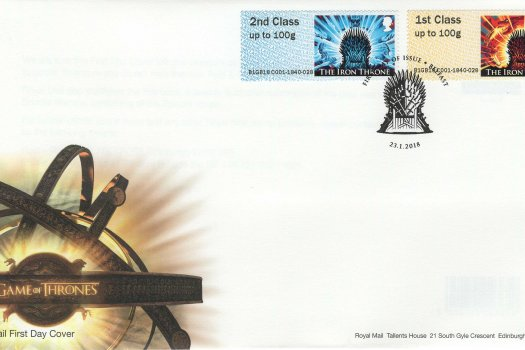Royal Mail Game of Thrones Post & Go FDC