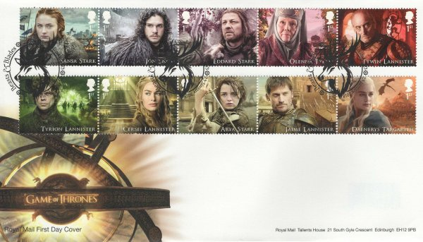 Royal Mail Game of Thrones FDC