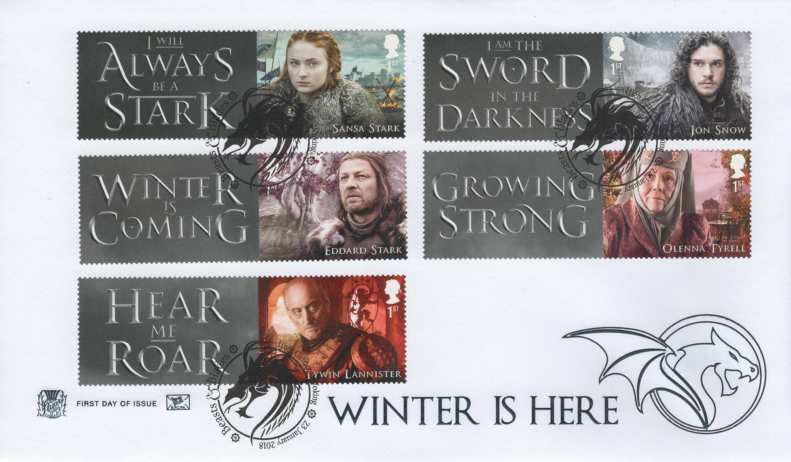 Stuart Game of Thrones Generic sheet FDC