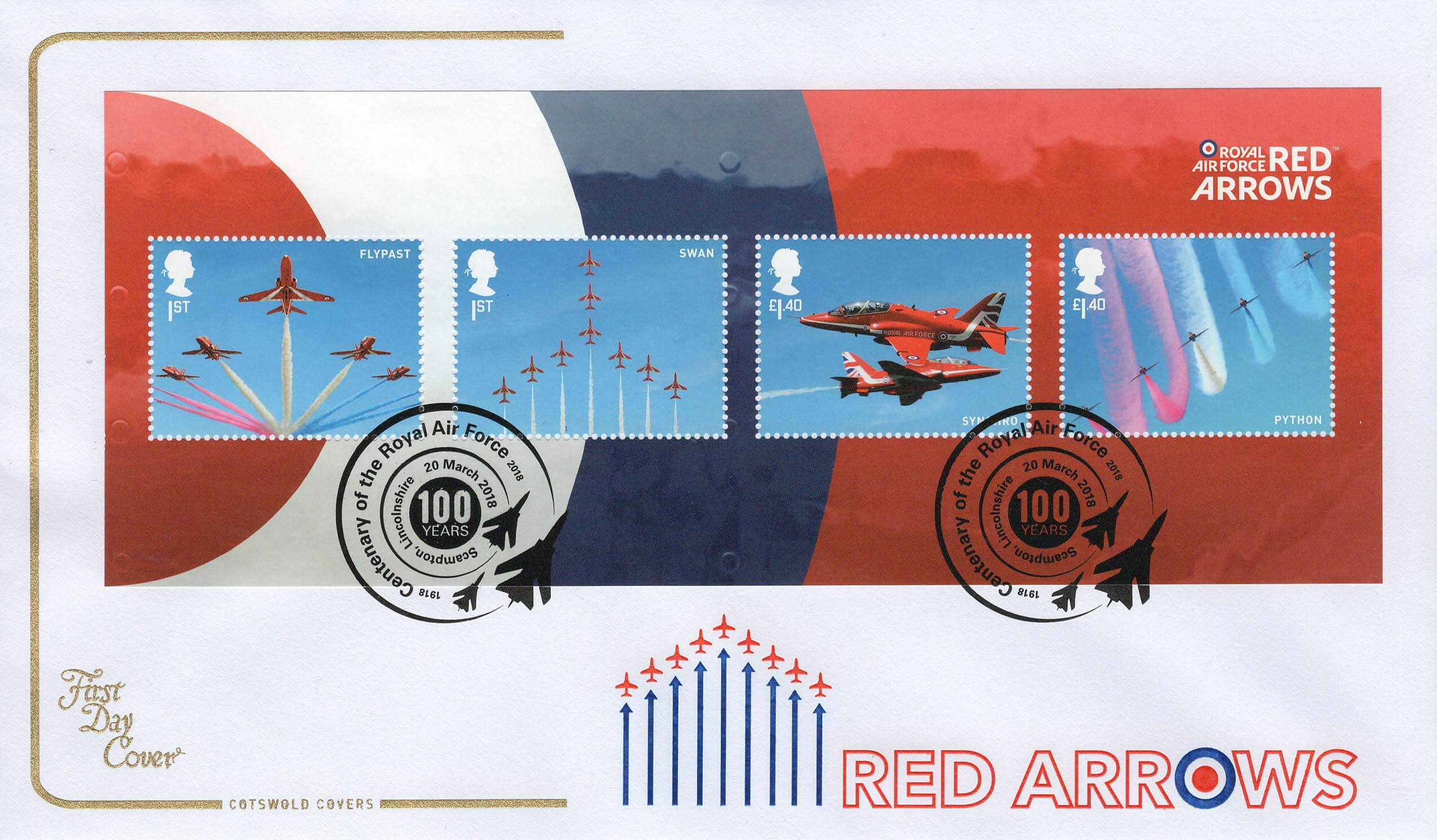 RAF Centenary stamps and Red Arrows too!