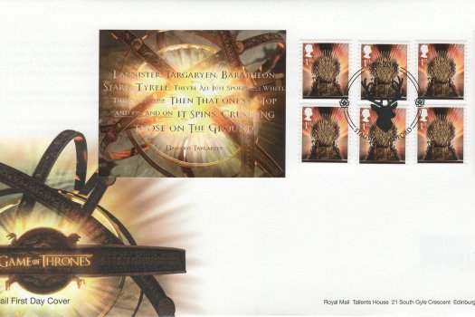 Royal Mail Game of Thrones Retail Booklet FDC