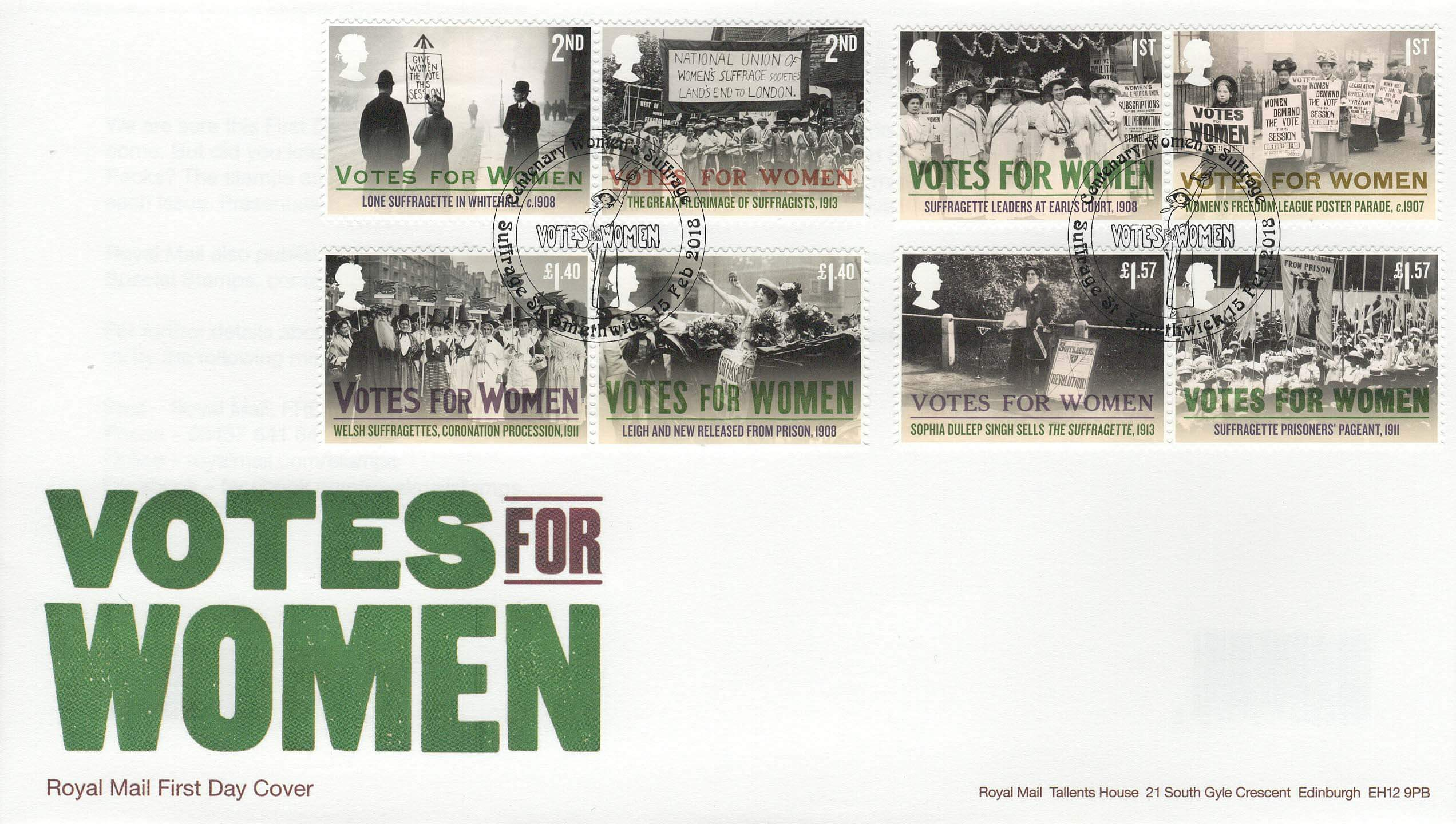 Royal Mail Votes for Women FDC