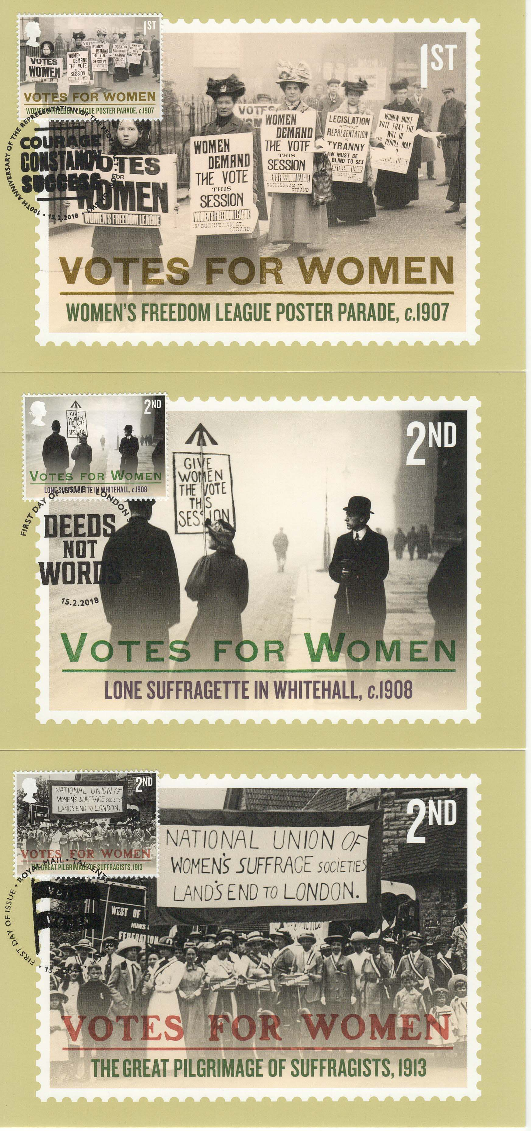 Votes for Women Stamp Cards 1st,2nd