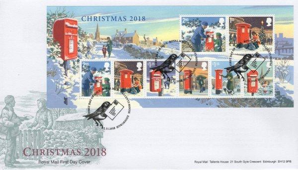 Royal Mail Christmas 2018 Minisheet FDC