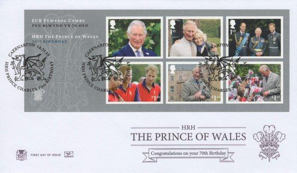 Stuart Prince Charles 70th Birthday Minisheet FDC