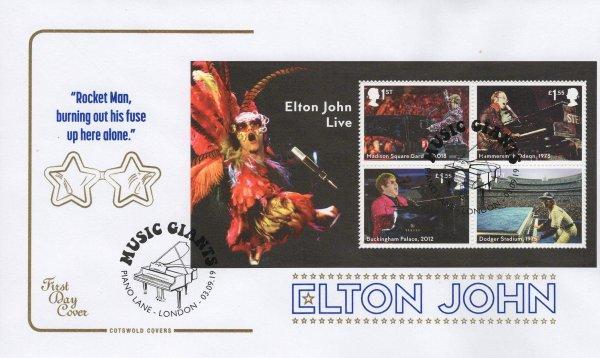 Cotswold Elton John Minisheet FDC
