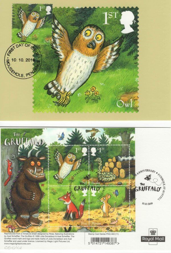 Gruffalo stamp cards Back