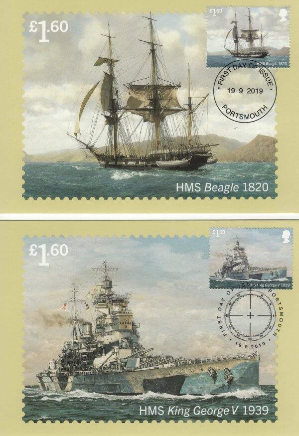 Royal Navy Ships Stamp Cards Back