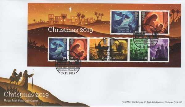 Royal Mail Christmas 2019 Minisheet FDC