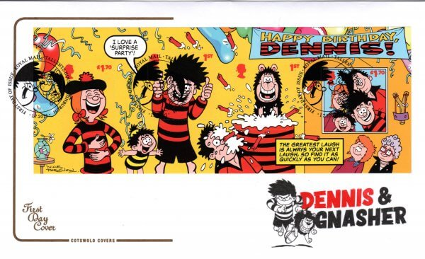 Cotswold Dennis & Gnasher Minisheet FDC