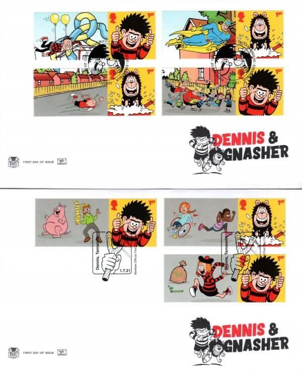 Stuart Dennis & Gnasher Generic Sheet FDC image 1